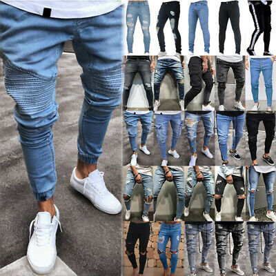 Mens Ripped Biker Workout Slim Tight Jeans Frayed Destroyed Trousers Denim Pants