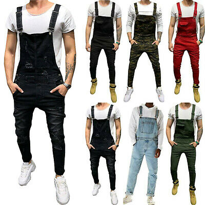 Men Boys Retro Dungarees Denim Overalls All Waists Casual Long Trousers Jumpsuit