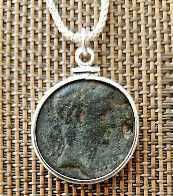 First Roman Emperor Augustus Authentic Roman Coin Pendant 925 Silver Necklace