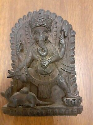 Antique Nepalese Hand Carved Elephant (Deity Wooden Wall Plaque, Ganesha shrine