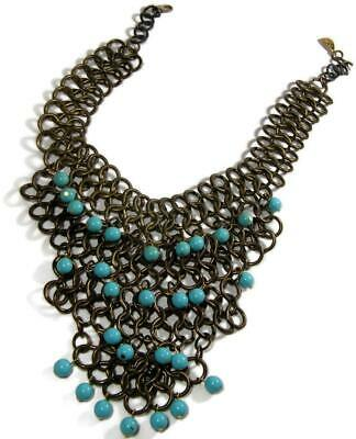 Yochi Egyptian Revival Faux Turquoise Antiqued Gold Tone Bib Necklace Signed