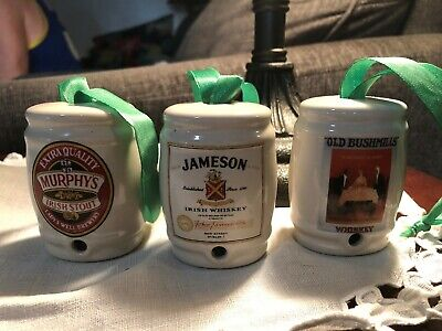 Whiskey Barrell Ornament Set Jameson, Murphys Irish Stout & Old Bushmills