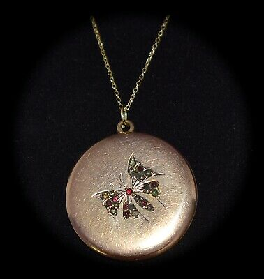 BEAUTIFUL Antique VICTORIAN Multi Colored PASTE STONE Butterfly LOCKET Necklace