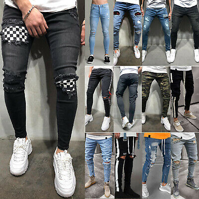 Mens Boys Stretch Skinny Ripped Jeans Biker Frayed Denim Leisure Tight Trousers