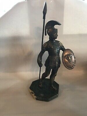 Antique Bronze Copper Ancient Roman Or Grecian Warrior With Spear In Marble