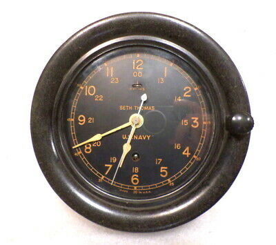 Seth Thomas 1940's U.S. Navy Ship Clock With Sweep Seconds Hand