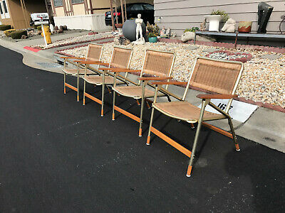Vintage Set 4 Mid Century Modern Folding Patio Dining Chairs Telescope Chair Co