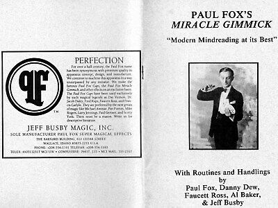"Magic SB Book ""Paul Fox's MIRACLE GIMMICK"" - 'Modern Mindreading at its Best'"