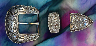 Western Cowboy/Cowgirl Rodeo Engraved Antique Silver Rope Border Buckle