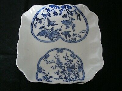 Three vintage hand painted blue & white porcelain dishes.
