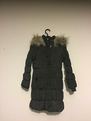 Marks and Spencer girls hooded charcoal grey coat jacket age 5-6 used 💙💙