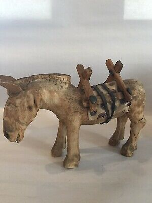 Primitive Hand Carved Wood Pack Donkey Mule