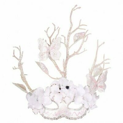 Masquerade Eye Mask - Snow / White  with Butterflies