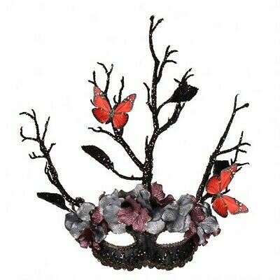 Masquerade Eye Mask - Black Tree with Butterflies