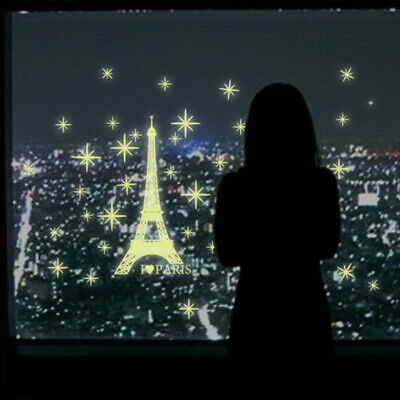 Eiffel Tower Wall Sticker  Vinyl Home Decor Bedroom Glow in the Dark