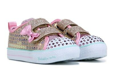 "SKECHERS Kid Twinkle Toes LIGHT-UP Shuffles Sneaker Toddler SIZE 9 ,.7"" length"