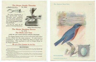 1915 Singer sewing Needle Threader advertising trade card - Bluebird