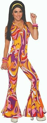 Adult Funky Lady Disco Fever 70s Hippie Groovy Halloween Costume Standard