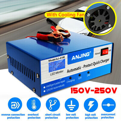 12V/24V Motorcycle Car Battery Charger Jump Starter Intelligent Pulse Repair 10A