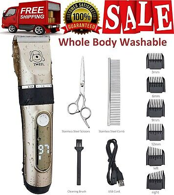 NEW Pet Clippers Professional Heavy Duty Trimmer Thick Hair Dog Grooming Kit...