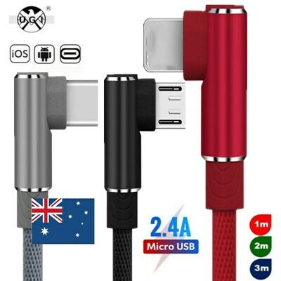 1-3M Elbow 90° Data Sync For iPhoneXS 8 Type C IOS Micro USB Fast Charger Cable