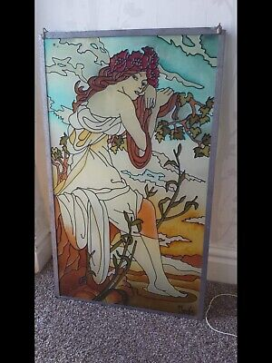 Vintage Alphonse Mucha large Stained (painted) Glass Wall Hanging Art Nouveau
