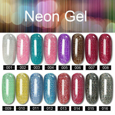Gel Polish MS QUEEN Starry Glitter Neon No Wipe Top Base Coat Lacquer Manicure