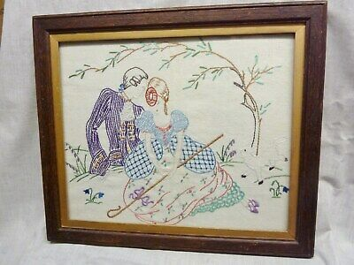 antique picture frame oak with art deco 1930s embroidery man lady lovers sheep