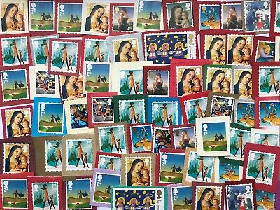 100 X 2nd Class Mixed Christmas Xmas Stamps Unfranked on Coloured Paper Job Lot