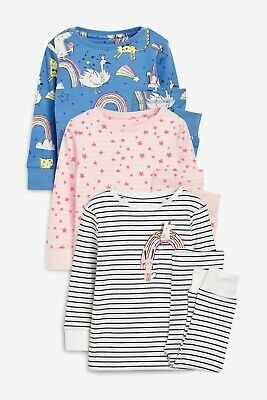 BNWT Next Girls 4-5 Years 3 Pack Snuggle Fit Pyjamas, Unicorn, Character Print