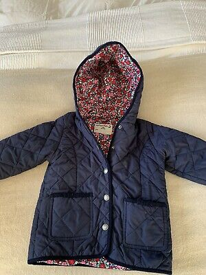 jojo maman bebe Quilted Navy Coat Age 2-3 Years Floral Lining