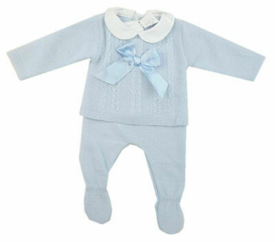 Baby boy girls knitted bow jumper trousers Spanish style outfit 3-6 months BNWT
