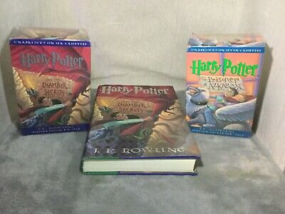 Harry Potter Hardcover Book and 2 Sealed Harry Potter Audio Book Cassette Sets.