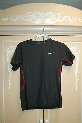 New Nike Dri Fit Mens Short Sleeve Shirt Md M Black W/Red Fitted Nwot Mesh Logo