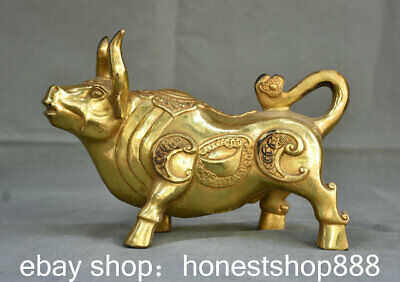 """9.2"""" Old China Bronze Gilt Feng Shui Strong Wealth Cattle Ox Animal Statue"""