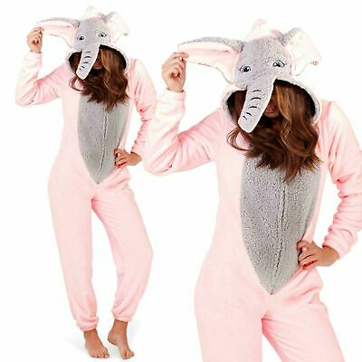 Ladies Girls Novelty Super Soft Pink Elephant All In one Jumpsuit UK 8-20