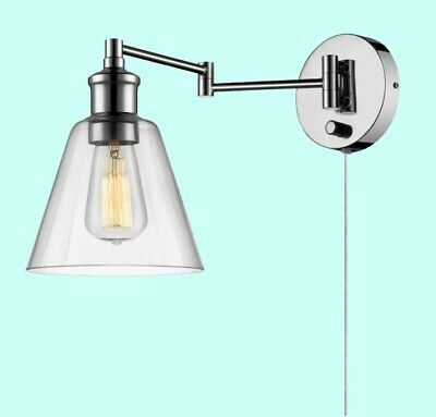 WALL MOUNT LAMP PLUG IN Chrome Swivel Adjustable Swing Arm Reading Light Office