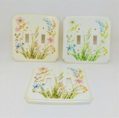 Lot of 3 Vintage American Tack & Howe 2 Gang 2 Toggle Cover Plates Pastel Floral