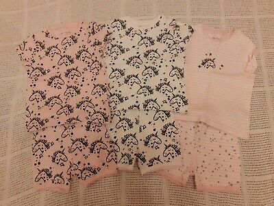 Next Girls Short Pyjamas x3 Age 2-3 yrs  VGC Unicorn design pink & white