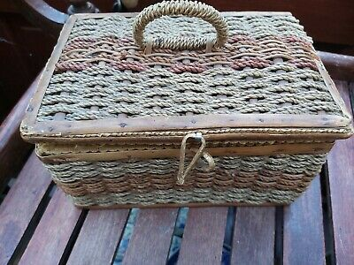 Vintage Woven Sewing Basket Plus Contents including Sun Hand Sewing Machine