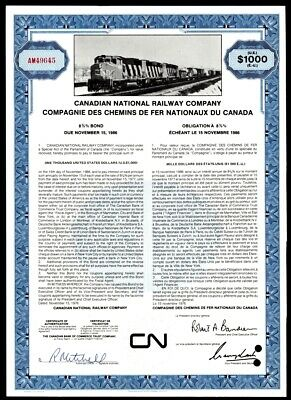 Stock Certificate Canadian National Railway Co 1976 $1000 8 3/4% Bond Blue