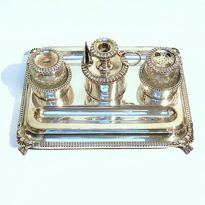 Antique Georgian Old Sheffield Silver Plate Standish Inkstand Candlestick c1790