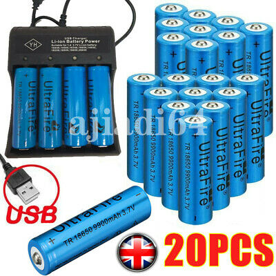9900mAh 18650 Rechargeable Battery Li-ion Lithium 3.7V With Charger Cell UKSTOCK