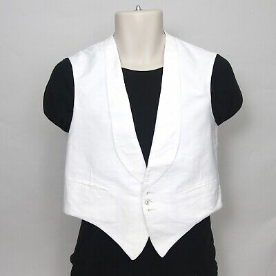 """Vintage 1950s White Marcella Waistcoat Vest 40"""" Chest Double breasted (N237)"""
