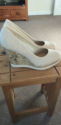 Ladies New Look Natural High Wedge Shoes Size8 (42)