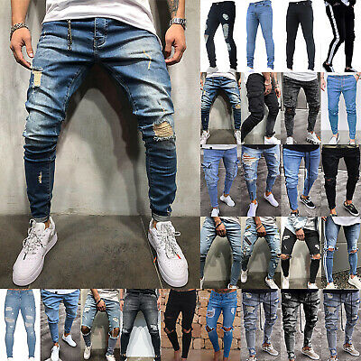 Mens Boy Fitness Frayed Jeans Pants Distressed Sports Baggy Biker Denim Trousers