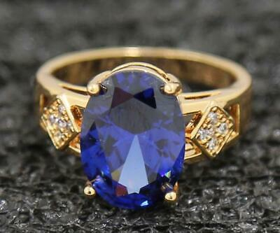 Oval 3.77ct Natural Tanzanite 14KT Solid Yellow Gold Birthday Gift Ring Size 6#