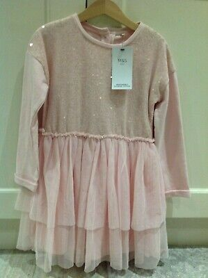 BNWTS Marks and Spencer Girls Pink Party Dress 5-6 years