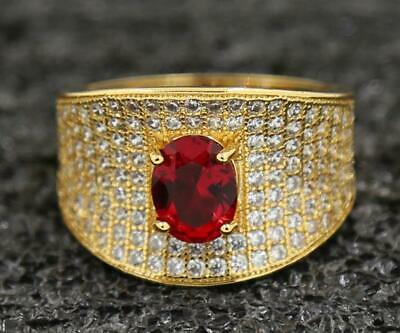 Amazing 3.47ct Natural Ruby 14KT Solid Yellow Gold Anniversary Bands Ring Sz 10#