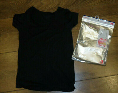 Uniqlo Kids Heattech Black U-Neck Short Sleeve Thermal T-Shirt Top Age 3-4 (110)